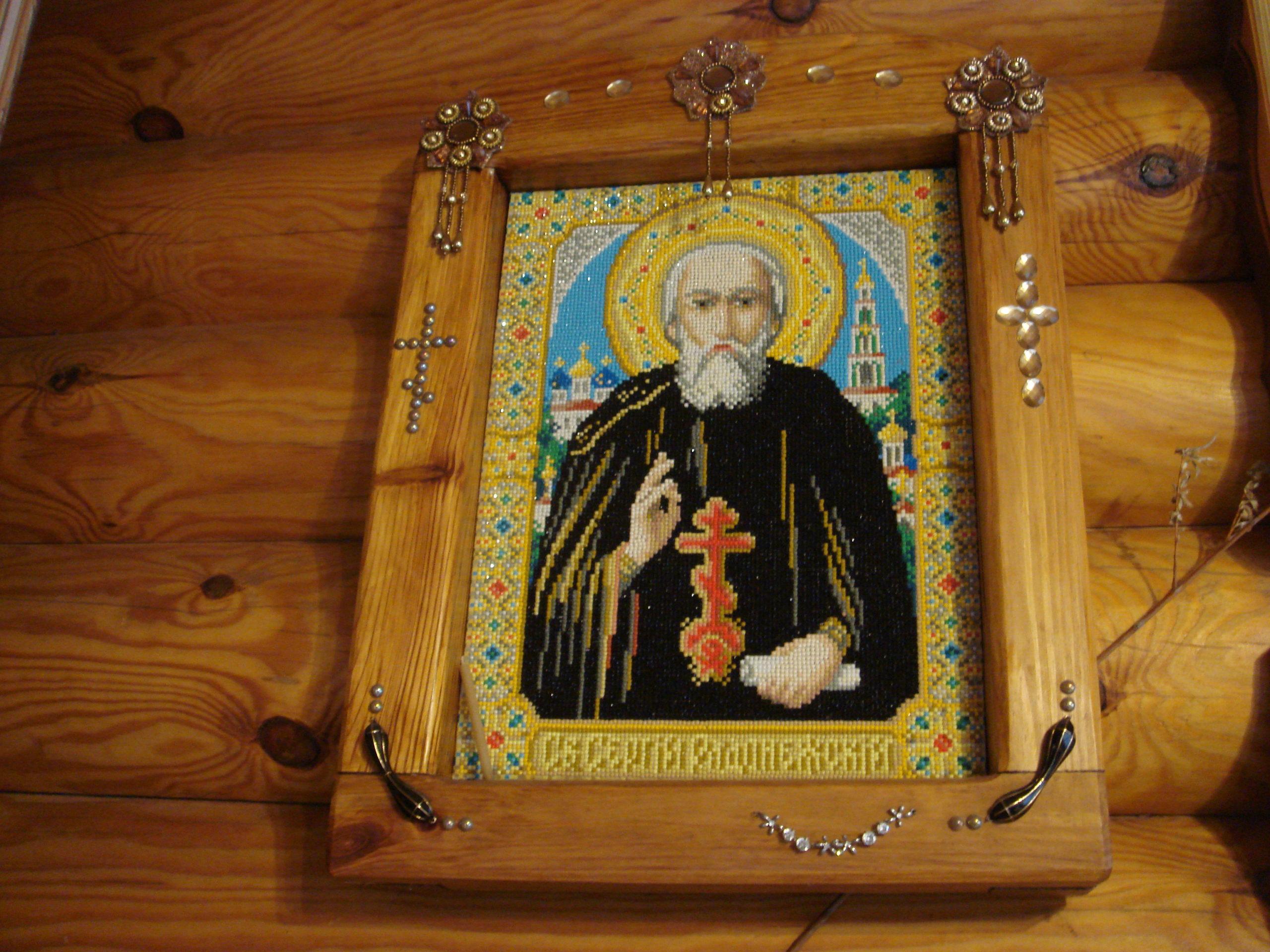 Рамка из дерева своими руками для иконы из бисера Св. Сергий Радонежский фото