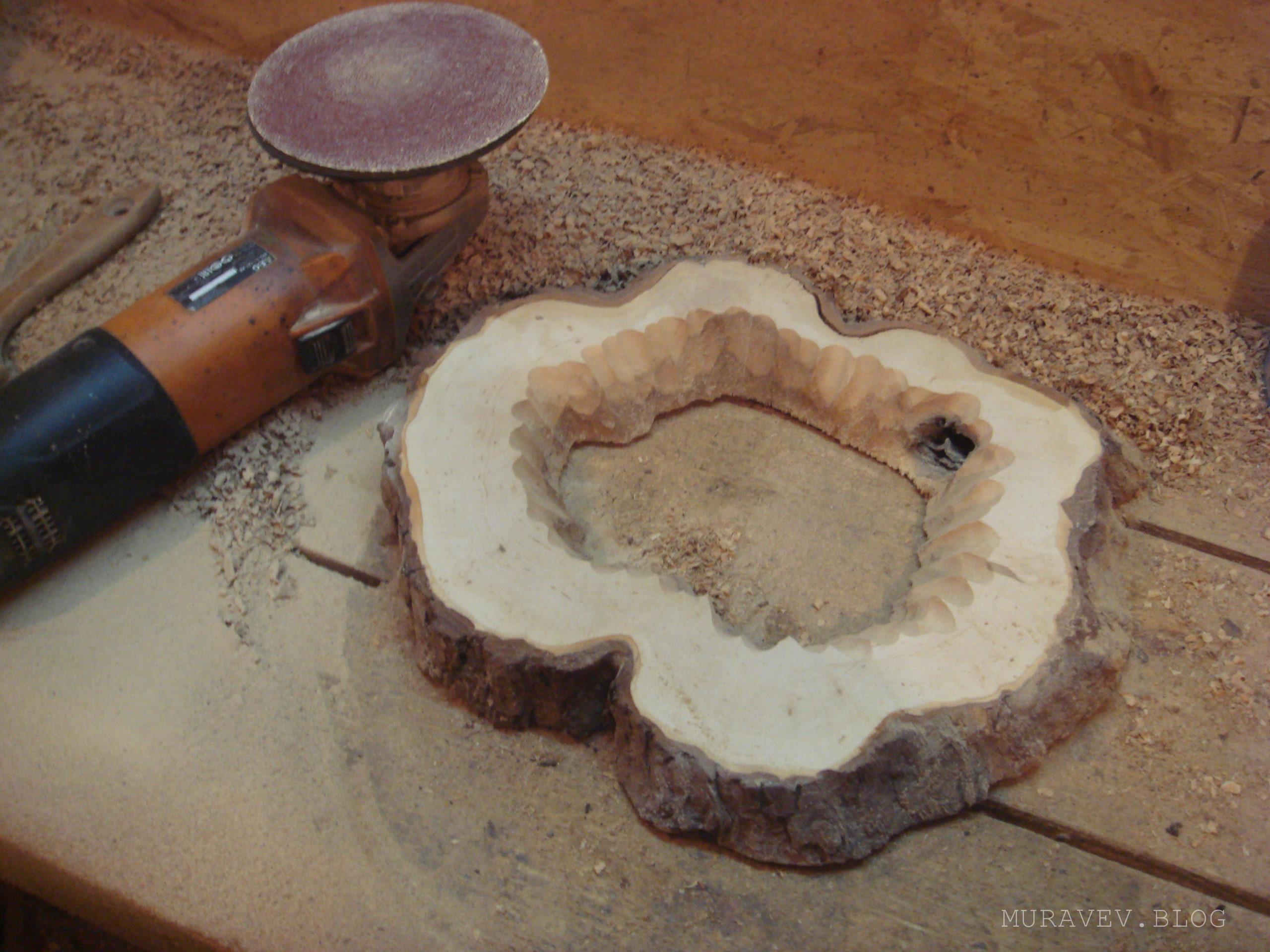 Как отшлифовать деревянную часть среза фото