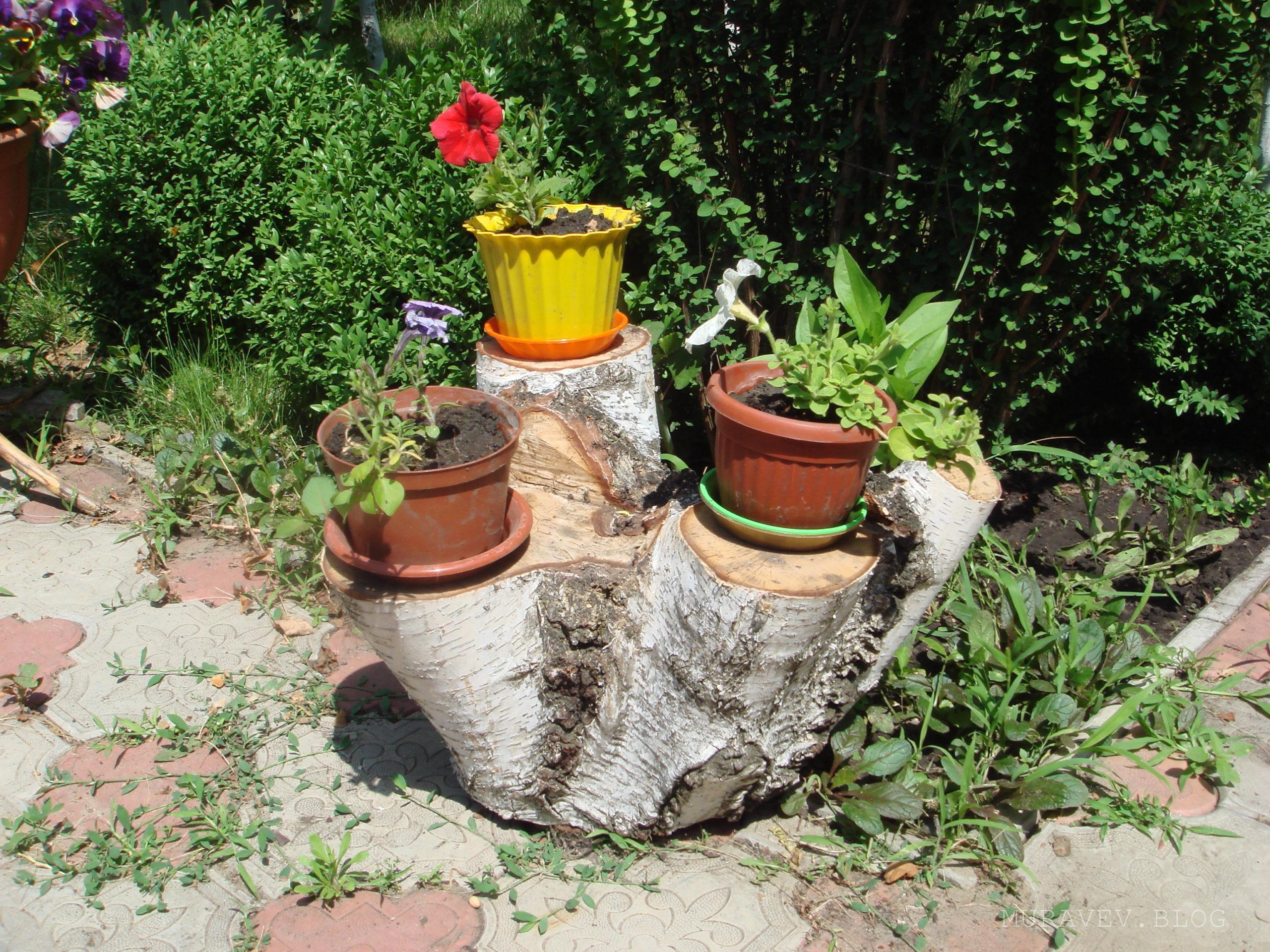 Подставка для цветов из березы